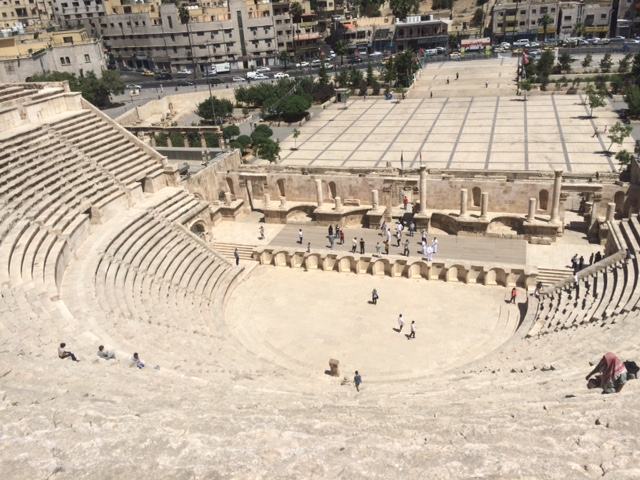 "Students scaling the Roman Theatre (often called the ""Amphitheatre"") in Amman (Photo By R. Belcher)"